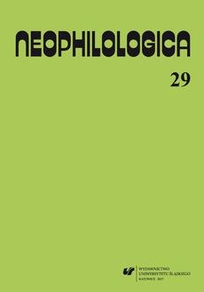 """""""Neophilologica"""" 2017. Vol. 29: Études sémantico-syntaxiques des langues romanes"""