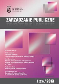 Zarządzanie Publiczne nr 1(23)/2013 - I. Zachariasz: Prawne uwarunkowania efektywności planów zagospodarowania przestrzennego w Polsce