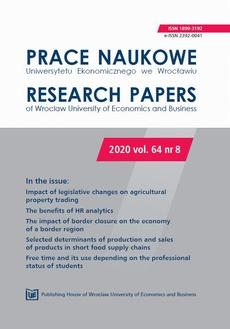 Prace Naukowe Uniwersytetu Ekonomicznego we Wrocławiu 64/8. Impact of legislative changes on agricultural property trading