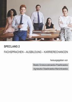 Speclang 2. Fachsprachen – Ausbildung –Karrierechancen