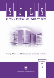 """Silesian Journal of Legal Studies"". Contents Vol. 5"