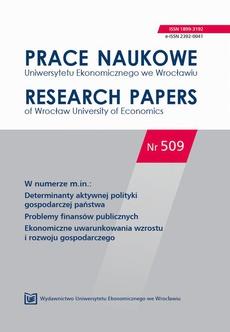 Prace Naukowe Uniwersytetu Ekonomicznego we Wrocławiu nr. 509. Determinanty aktywnej polityki gospodarczej państwa