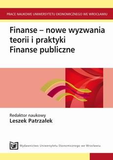 Finanse - nowe wyzwania teorii i praktyki. Finanse publiczne