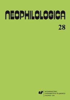 """""""Neophilologica"""" 2016. Vol. 28"""