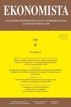 Ekonomista 2020 nr 6 - Wpływ wydatków budżetowych na zmiany strukturalne i dochody w rolnictwie w warunkach funkcjonowania w Polsce instrumentów WPR