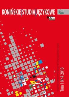 Konińskie Studia Językowe Tom 1 Nr 4 2013