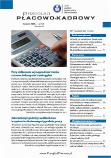 Przegląd płacowo-kadrowy sierpień 2013 r. nr 58