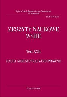 Zeszyty Naukowe WSHE, t. XXII, Nauki Administracyjno-Prawne