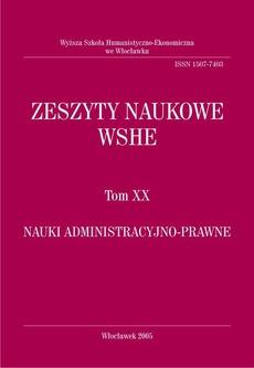 Zeszyty Naukowe WSHE, t. XX, Nauki Administracyjno-Prawne