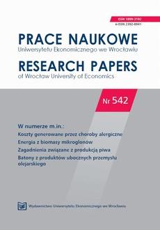Prace Naukowe Uniwersytetu Ekonomicznego we Wrocławiu nr 542. Koszty generowane przez choroby alergiczne