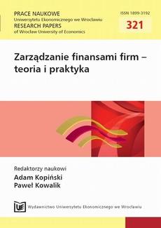 Zarządzanie finansami firm - teoria i praktyka. PN 321