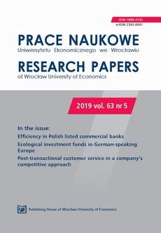 Prace Naukowe Uniwersytetu Ekonomicznego we Wrocławiu 63/5. Efficiency in Polish listed commercial banks