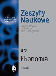 Zeszyty Naukowe Uniwersytetu Ekonomicznego w Krakowie, nr 872. Ekonomia
