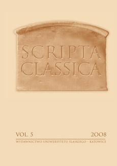Scripta Classica. Vol. 5 - 01 Quinze années des études classiques a l'Université de Silésie a Katowice