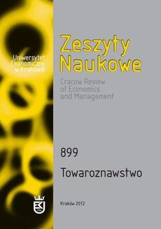 Zeszyty Naukowe Uniwersytetu Ekonomicznego w Krakowie, nr 899. Towaroznawstwo