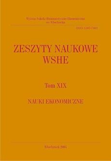 Zeszyty Naukowe WSHE, t. XIX, Nauki Ekonomiczne