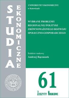 Wybrane problemy regionalnej polityki zrównoważonego rozwoju społeczno-gospodarczego. SE 61