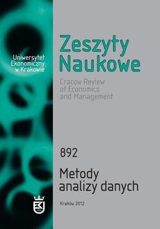 Zeszyty Naukowe Uniwersytetu Ekonomicznego w Krakowie, nr 892. Metody analizy danych
