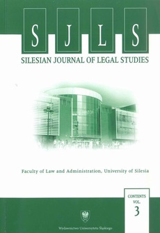 """Silesian Journal of Legal Studies"". Contents Vol. 3 - 02 L' humanisme en criminologie et dans la lutte contre la criminalité"