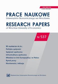 Prace Naukowe Uniwersytetu Ekonomicznego we Wrocławiu nr 537. Polityka spójności