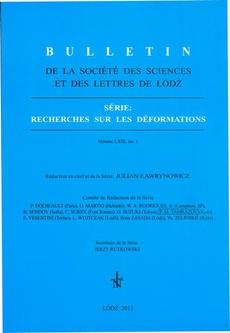 Bulletin de la Société des sciences et des lettres de Łódź, Série: Recherches sur les déformations t. 63 z. 1