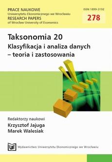 Taksonomia 20. Klasyfikacja i analiza danych - teoria i zastosowania. PN 278