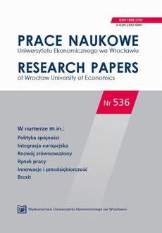 Prace Naukowe Uniwersytetu Ekonomicznego we Wrocławiu nr. 536. Polityka spójności