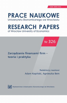 Zarządzanie finansami firm – teoria i praktyka. PN 326