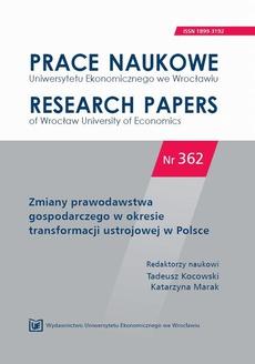 Zmiany prawodawstwa gospodarczego w okresie transformacji ustrojowej w Polsce. PN 362