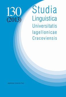 Studia Linguistica Universitatis Iagellonicae Cracoviensis Vol. 130 (2013)
