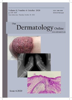 Our Dermatology Online - A rare case of malignant pyoderma associated with ulcerative colitis both treated effectively with adalimumab.