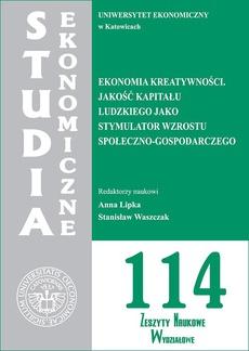 Ekonomia kreatywności. Jakość kapitału ludzkiego jako stymulator wzrostu społeczno-gospodarczego. SE 114