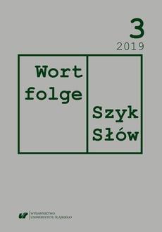 """""""Wortfolge. Szyk Słów"""" 2019, nr 3"""