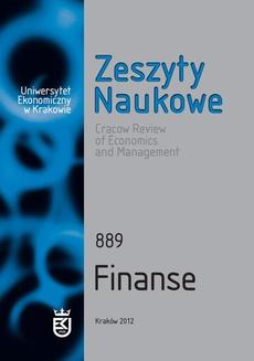 Zeszyty Naukowe Uniwersytetu Ekonomicznego w Krakowie, nr 889. Finanse