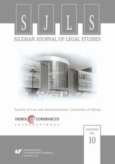 """Silesian Journal of Legal Studies"". Vol. 10"