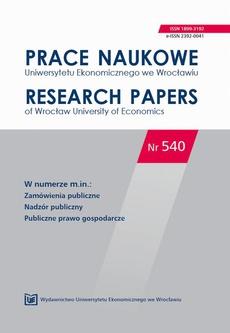 Prace Naukowe Uniwersytetu Ekonomicznego we Wrocławiu nr 540. Zamówienia publiczne