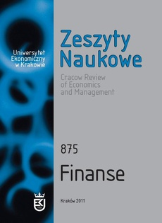 Zeszyty Naukowe Uniwersytetu Ekonomicznego w Krakowie, nr 875. Finanse