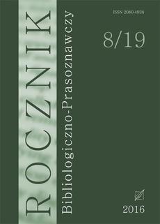 """""""Rocznik Bibliologiczno-Prasoznawczy"""", t. 8/19"""