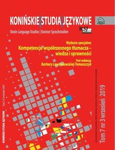 Konińskie Studia Językowe Tom 7 Nr 3 2019