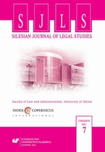 """Silesian Journal of Legal Studies"". Vol. 7"
